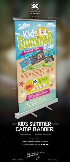 Kids Summer Camp Banner Template PSD