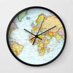 World Map Clock Travel Clock Decor Cute Wall Clock by iQstudio Wall Clock Gift, Wall Clock Frame, Clock Decor, Frames On Wall, White Frames, Modern Clock, Modern Wall, Wall Watch, Travel Crafts