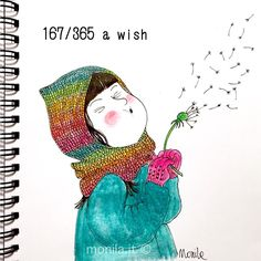 Doodle,i ghirigori di Monila,dandelion,wish,illustration,illustrazione,Monila handmade