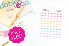 This set includes mini Sleep In stickers in the colors shown. They will be one sheet of matte finished stickers individually die-cut, ready to peel off and stick onto your planner or calendar! A perfect fit for any planner, especially the personal planner!  The sticker sheet is 5x7!  These stickers are removable and repositionable!!!  This listing is for this exact set shown.  Thank you for shopping at Libbie and Co