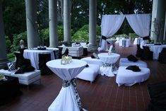 Similar to the set-up and seating I would like for my wedding... incorporating more candles and flowers to add ambiance and color.