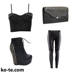 Glam-rock look for the party. #rock #black #glamour