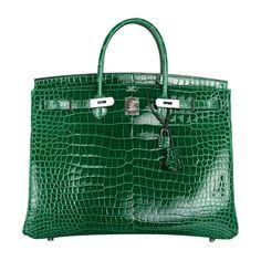 "HERMES ""URBAN LEGEND"" 40CM VERT EMERALD BIRKIN BAG WITH PALLADIUM HARDWARE  #handbag @tradee_app"