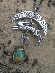 Moon Hare, silver with opal. Hannah Willow Www.hannahwillow.com