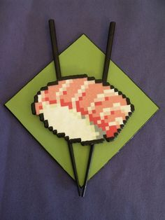 Little Fatty... sushi fuse bead art. by PlasticSkillet on Etsy, $25.00