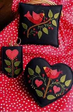 A beautiful pair of Wool Applique pin cushions and scissors case in rich shades of felted wool. Applique these designs with #8 Perle cotton adding pretty texture to the embroidery. Use in your own sewing basket or make the accessories as a gift for a best friend or someone in your family.