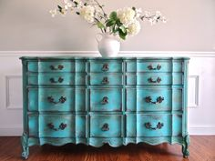 RESERVED for Becca - Vintage Hand Painted French Provincial Cottage Chic Shabby Distressed Aqua Turquoise Teal Blue Dresser Console Cabinet