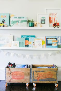 Book Storage in Colorful Playroom - Project Nursery