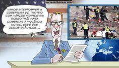 Charge do Dum (Zona do Agrião) sobre as notícias nos EUA sobre a violência no Rio de Janeiro (06/07/2016). #Charge #Dum #Rio2016 #JogosOlímpícos #Olimpíada #Imprensa #EUA #USA #EstadosUnidos #Terrorismo #HojeEmDia