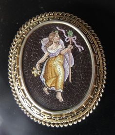 Rare very old Micro Mosaic brooch/pendant depicting female bacchant. | Collectors Weekly