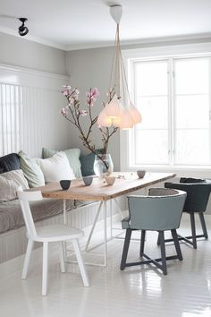 Color Palette for kitchen banquette is perfect. Love the slubby/casual look with the reclaimed wood dining table