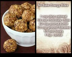No Bake Energy Bites. I have seen other recipes that add: 2/3 cup Coconut Flakes & 1 Tbl Chia Seeds to the mixture.
