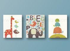Lot de 3 illustrations enfant decoration murale, elephant, Alphabet
