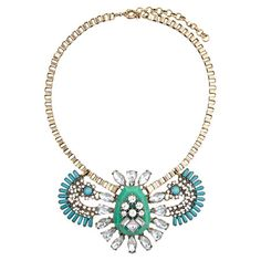 Add a pop of style to evening ensembles and work outfits alike with this stunning gold-plated necklace, showcasing a bib of teal and mint beading and shimmer...