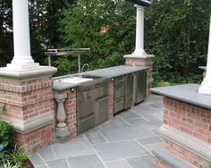 Kitchen Design, Conventional Patio Design With Luxury Outdoor Kitchen Designs Also Red Bricks Pillars And Kitchen Table Also Gray Concrete C...