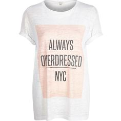 River Island White always overdressed NYC print t-shirt ($16) ❤ liked on Polyvore