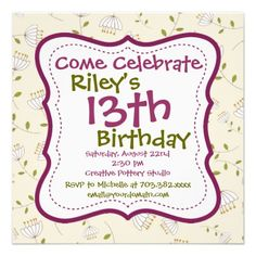 For Any Age. Purple Green Floral Birthday Party Invitations