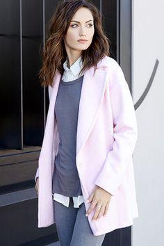 JOA Pink Coat - Oversized Coat - Wool Coat - $113.00