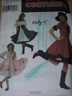 SIMPLICITY #7719-LADIES CUTE & FUN COUNTRY or SQUARE DANCE DRESS PATTERN 10-14uc