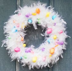 Easter wreath with white feather boa and mini eggs!