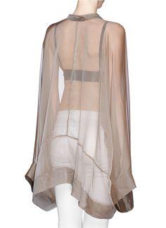 Haider Ackermann   Long kimono sleeve sheer silk blouse