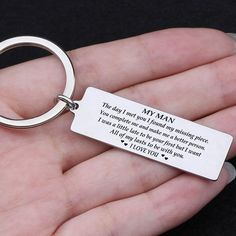 Engraved Keychain - My Man I Want All Of My Lasts To Be With You - - This keychain is a great gift for your loved ones and is a lovely reminder for them to stay safe o - Surprise Gifts For Him, Bday Gifts For Him, Thoughtful Gifts For Him, Romantic Gifts For Him, Bf Gifts, Gifts For Your Boyfriend, Love Gifts, Couple Gifts, Boyfriend Girlfriend