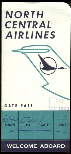 North Central Airlines Gate Pass airline ticket wallet wrapper 1969 at Amazon's Entertainment Collectibles Store