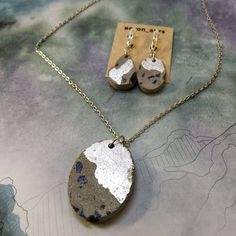 Concrete jewelry Blau Black Charm Stainless Steel Hypoallergen Necklace