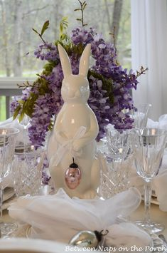 Easter Tablescapes Table Settings with Wisteria and Bunny Centerpiece and Pottery Barn Bunny Plates