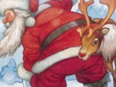Wallpapers of Rudolph the Red-Nosed Reindeer Story book - Santa & Rudolph Reindeer - Christmas Art Wallpaper 8 Noel Christmas, Father Christmas, Christmas Music, All Things Christmas, Vintage Christmas, Reindeer Christmas, Christmas Ideas, Christmas Crafts, Xmas