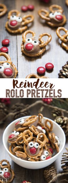 Rolo Pretzel Reindeer are not only a delicious sweet and salty treat, but they a. - Rolo Pretzel Reindeer are not only a delicious sweet and salty treat, but they are adorable, and fun, and perfect for the Christmas season! Christmas Pretzels, Christmas Snacks, Christmas Cooking, Christmas Parties, Baked Gifts For Christmas, Homemade Christmas, Christmas Cookies For Kids, Christmas Baking For Kids, Christmas Sweets Recipes