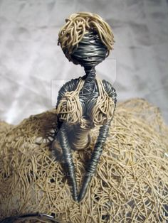 Wire sculpture of fairy. Another view: