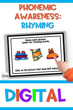 These Rhyming digital task cards would be perfect for Guided Reading independent centers or progress monitoring for phonemic awareness skills. There are 30 task cards in all - perfect for kindergarten and first grade!