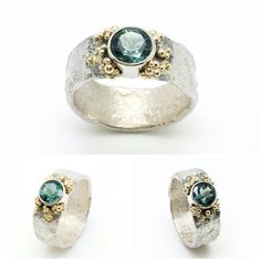 Silver ring with gold granulation and a beautiful green-blue tourmaline. Made by Sarah Kobak www.sarahkobak.nl