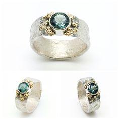 Silver ring with gold granulation and a beautiful green-blue tourmaline. Made by Sarah Kobak www.sarahkobak.nl