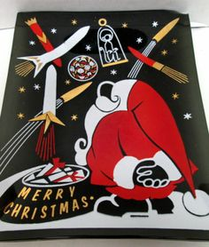 Atomic Santa Sputnik Space Monkey Rocket Christmas Dish Houze Glass Mid Century
