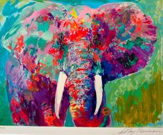 Colorful elephant. Love this! Id love to try to do this with a different animal :)