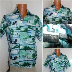 Vintage 1970's VAN CORT Hawaiian Camp Shirt 100% Polyester Mens Size Medium #VanCort