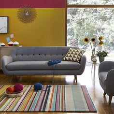 Barker & Stonehouse Tula - colourful Living Room with grey sofa