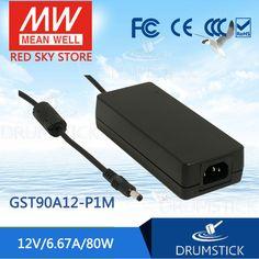 MEAN WELL original GST90A12-P1M 12V 6.67A meanwell GST90A 12V 80W AC-DC High Reliability Industrial Adaptor [Hot7]