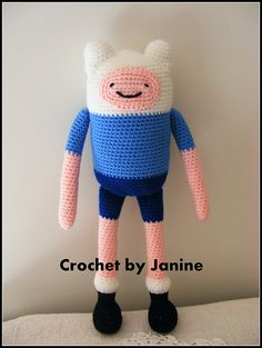 "Finn the Human from Adventure Time (30cm tall) - Free Amigurumi Pattern - PDF Format - Click to ""download"" here: http://www.ravelry.com/patterns/library/finn---adventure-time"