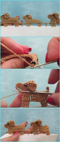 Crochet Dog Edging [Free Video Tutorial] Crochet puppies border free pattern, dogs stitch