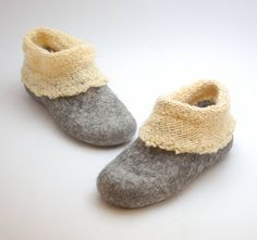 Felt wool slipper boots with knitted ankle  organic por WoolenClogs, $99.00