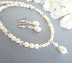 Bridal Jewelry Set, 2 Piece Set,Swarovski Pearls,Pearl Necklace and Earrings,Wedding Jewelry,Pearl and Crystal,Bridal Necklace Earrings by Uniquebeadables on Etsy