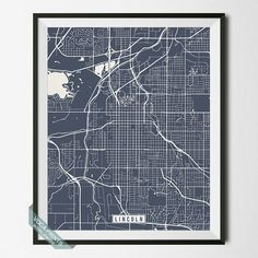LINCOLN, NEBRASKA STREET MAP PRINT by Voca Prints! Modern street map art poster with 42 color choices. Perfect for anyone who loves to travel or is away from home.