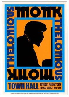 Thelonius Monk at Town Hall, New York City, 1959 Poster van Dennis Loren Framed Art Prints, Poster Prints, Framed Canvas, Graphic Posters, Framed Wall, Festival Jazz, Festival Posters, Thelonious Monk, Jazz Poster
