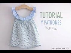 Hola!!!!! Que tal???? Como os dije en Instagram, quería haber publicado este post ayer, pero bueno, llevo tres días con él y parece que es poco tiempo! Pero más vale tarde que nunca, y aquí está un vestido combinado de dos telas para las más pequeñas de la casa!!!! Este vestido es muy sencillo de hacer, y para que no perdáis detalle os dejo el vídeo tutorial paso a paso. COMO HACER PASO A PASO D ... Sewing Baby Clothes, Baby Sewing, Diy Clothes, Cute Baby Girl Outfits, Baby Girl Dresses, Kids Outfits, Dress Sewing Tutorials, Baby Dress Design, Crotchet Patterns