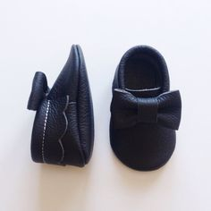 Black Leather Baby Moccasins by StitchesAndSoles on Etsy https://www.etsy.com/listing/180994905/black-leather-baby-moccasins