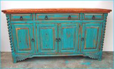 Southwest Buffet- Sandblasted Golden Pecan Turquoise Rub - love this! Distressed Furniture, Vintage Furniture, Painted Furniture, Distressed Dresser, Rustic Dresser, Southwest Decor, Southwest Style, Southwest Kitchen, Furniture Makeover