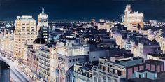 Óleo sobre lienzo. 110x 130 cm. Calle Alcalá desde circulo de Bellas Artes. Vista nocturna.